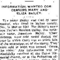 Unnamed person looking for information about Mary Bailey and Eliza Bailey