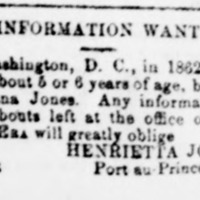 Henrietta Jones, Port-au-Prince, Haiti, searching for her daughter. First of her two ads.