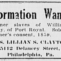 Lillian S. Clayton searching for former slaves of William W. Standley