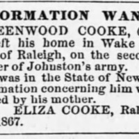 Eliza Cooke looking for son Greenwood Cooke