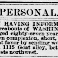 Mrs. Virginia Waugh searching for Washington Magruder