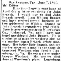 William Branch seeking information of John Branch