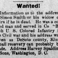 Harvey Spalding & Sons searching for Simon Smith or his heirs