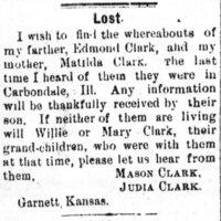 Mason Clark is searching for his parents, Edmond Clark and Matilda Clark