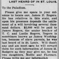 Stanley P. Mitchell searching for James H. Rogers/James Washington