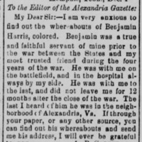 A. B. Carter searching for his former slave, Benjamin Harris