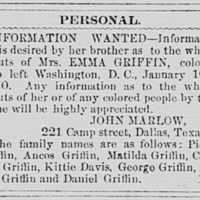 John Marlow searching for his sister, Mrs. Emma Griffin, and other relatives