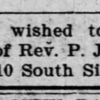 Unnamed, St. Louis, MO, searching for Rev. P.J. Jackson (two items: ad and reply to ad)
