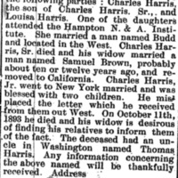 Unnamed widow of Charles Harris, Jr. searching for his mother Louisa Harris and unnamed sister