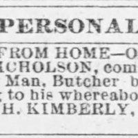 H. Kimberly searching for Joseph Nicholson