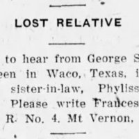 Frances Whipple searching for George Saddler