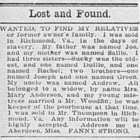 Fanny Strong searching for her parents Joe and Sallie and her siblings Sucky, Dollie, Rachel, Joseph, and Green or her former enslaver's family
