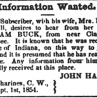 John and Elizabeth Hall searching for William Buck