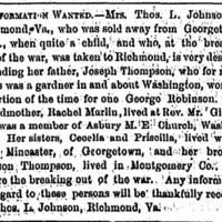 Mrs. Thomas L. Johnson seeks family