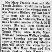 Mrs. Mary Francis Ross and Mrs. Tennie Jenkins searching for their sister