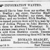 Richard Bradley searching for his mother, sisters, and brother