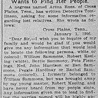 Arena Ross seeking information about her family
