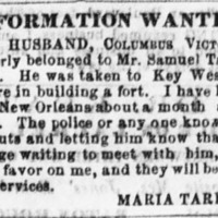 Maria Tarleton looking for her husband Columbus Victory