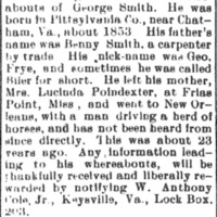 W. Anthony Cole, Jr. seeking the whereabouts of George Smith
