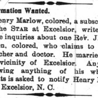 Henry Marlow searching for the Rev. J. W. Green
