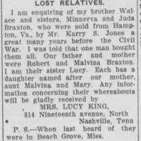 Mrs. Lucy King searching for her brother and sisters