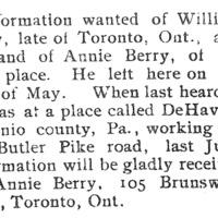 Annie Berry seeking information on her husband William Berry