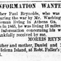 Morris Reynolds searching for his brother, Paul Reynolds