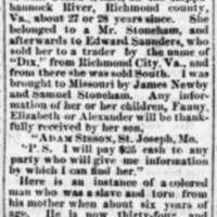 Adam Sisson, (also known as Adam Webb), searching for mother Fannie Webb (2nd of 3 ads)