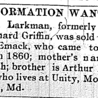 Unnamed person looking for Eliza Larkman