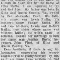Rev. J.R. Ruffin [Rev. Jeremiah R. Ruffin] searching for John Ruffin