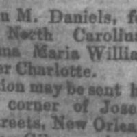 Helen M. Daniels searching for her mother Anna Maria Williams and sister Charlotte