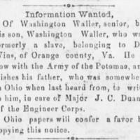 Washington Waller searching for his father Washington Waller Sr.