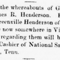 Unnamed, searching for Geo. T. Henderson, Wm. A. Henderson, and James R. Henderson
