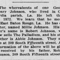 Robert Johnson searching for his son George Henry Johnson