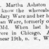 Mrs. Martha Ashston searching for Mrs. Mary Ware and her husband Thurban Ware