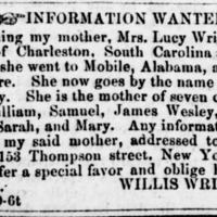 Willis Wright searching for his mother Mrs. Lucy Kennedy