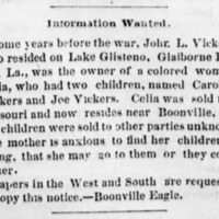 Celia searching for her children, Caroline Vickers and Joe Vickers