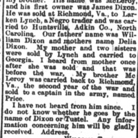 William Tunstel seeking his brother McLeroy