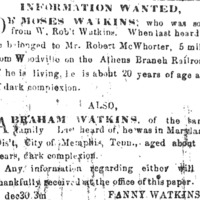 Fanny Watkins searching for Moses and Abraham Watkins
