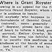 Esther Overby searching for General Grant Royster, called Grant Royster