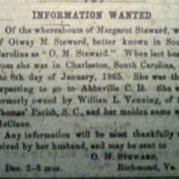 Otway M. Steward searching for his wife Margaret Steward