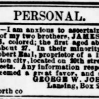 George W. Johnson searching for his brothers James Curtis and John A. Curtis