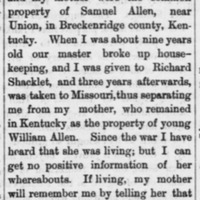 W.H.H. Allen (formerly named General William Henry Harrison) searching for his mother