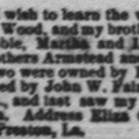 Eliza Givens searching for her mother, Ann Wood, brothers and sisters, John, Lewis, Noble, Martha, and Lucinda Wood, and half-brothers Armstead and Thomas Williams