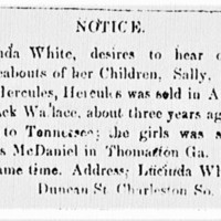 Lucinda (Cinda) White wishes to find her children.