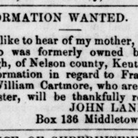 John Lane, Middletown, CT, searching for mother, brother, and sister