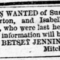 Betsey Jennings searching for Lawton family
