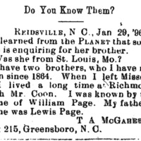T. A. McGahee (formerly William Page) seeking information about his unnamed sister and brothers