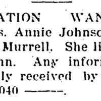 Ellen Mayes searching for Annie Johnson
