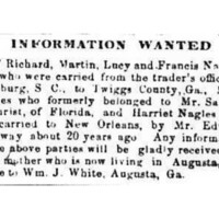 The mother of Richard, Martin, Lucy, Francis, Mary, and Harriet Nagles is looking for her children